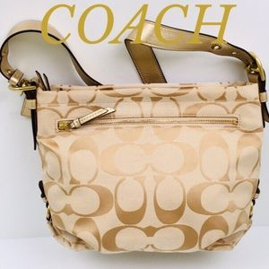 COACH GOLD TAN SIGNATURE  CROSSBODY/SHOULD…